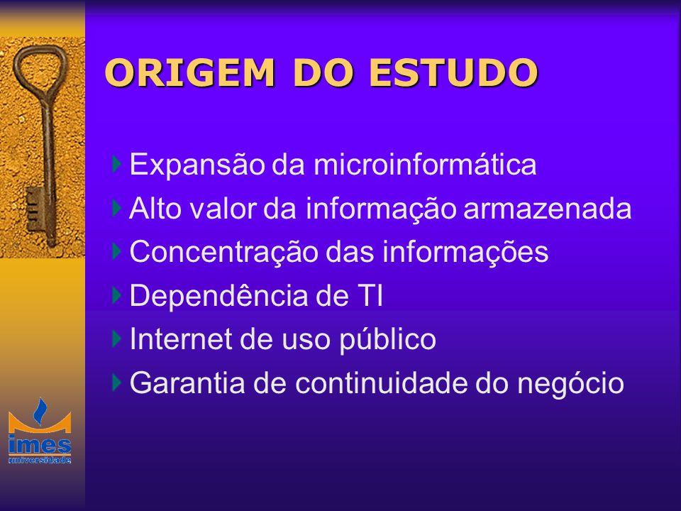 ORIGEM DO ESTUDO Expansão da microinformática Alto valor da informação armazenada Concentração das informações Dependência de TI Internet de uso públi