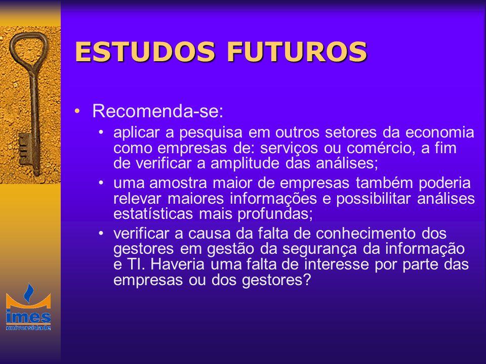 ESTUDOS FUTUROS Recomenda-se: aplicar a pesquisa em outros setores da economia como empresas de: serviços ou comércio, a fim de verificar a amplitude