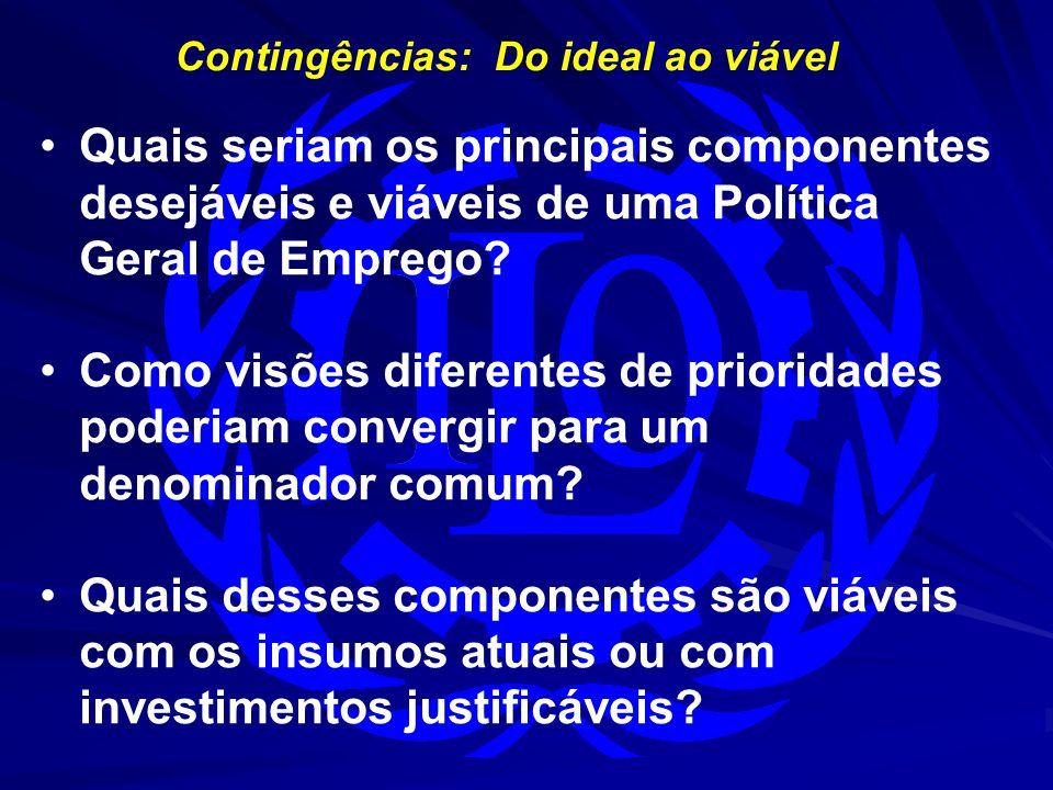Contingências: Do ideal ao viável Quais seriam os principais componentes desejáveis e viáveis de uma Política Geral de Emprego? Como visões diferentes