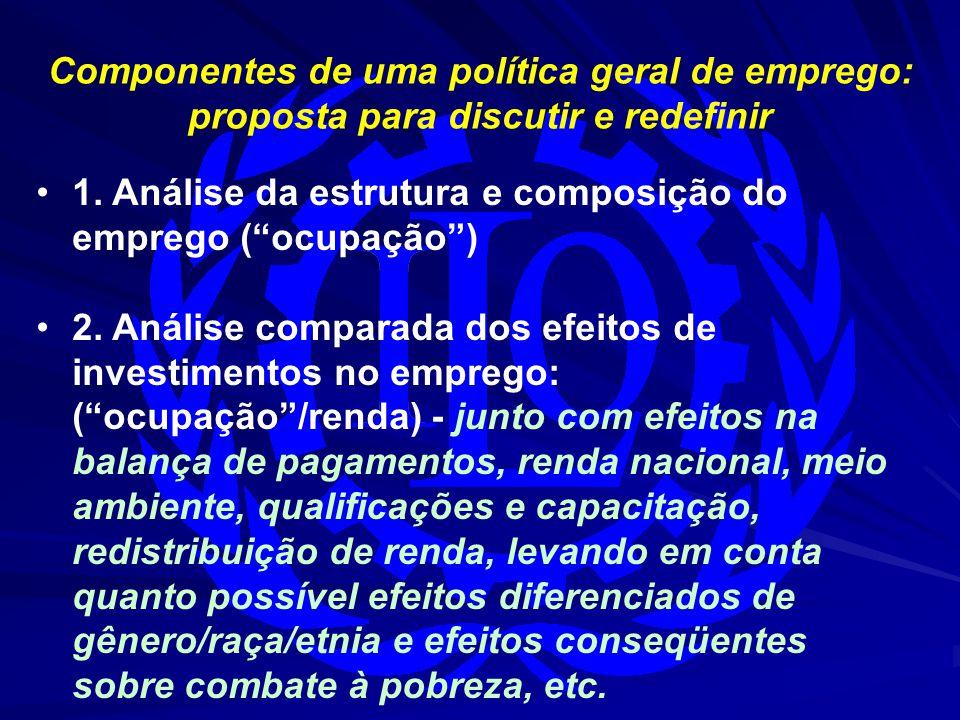 """Componentes de uma política geral de emprego: proposta para discutir e redefinir 1. Análise da estrutura e composição do emprego (""""ocupação"""") 2. Análi"""
