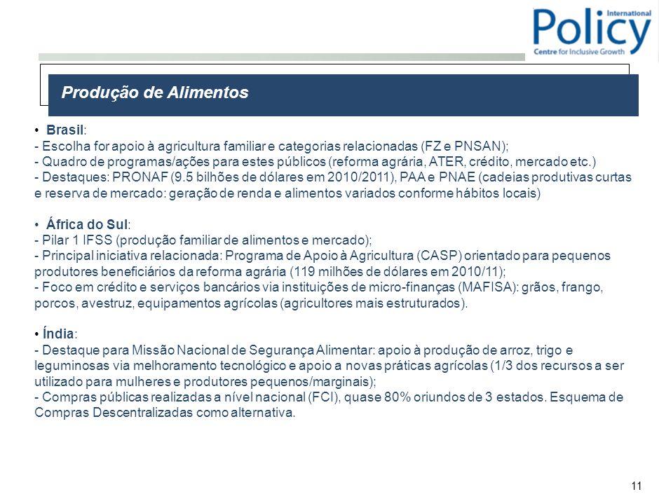 11 Produção de Alimentos Brasil: - Escolha for apoio à agricultura familiar e categorias relacionadas (FZ e PNSAN); - Quadro de programas/ações para estes públicos (reforma agrária, ATER, crédito, mercado etc.) - Destaques: PRONAF (9.5 bilhões de dólares em 2010/2011), PAA e PNAE (cadeias produtivas curtas e reserva de mercado: geração de renda e alimentos variados conforme hábitos locais) África do Sul: - Pilar 1 IFSS (produção familiar de alimentos e mercado); - Principal iniciativa relacionada: Programa de Apoio à Agricultura (CASP) orientado para pequenos produtores beneficiários da reforma agrária (119 milhões de dólares em 2010/11); - Foco em crédito e serviços bancários via instituições de micro-finanças (MAFISA): grãos, frango, porcos, avestruz, equipamentos agrícolas (agricultores mais estruturados).