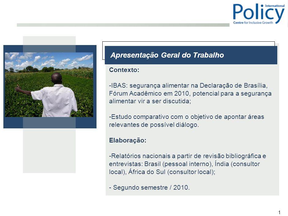 1 Apresentação Geral do Trabalho Contexto: -IBAS: segurança alimentar na Declaração de Brasília, Fórum Acadêmico em 2010, potencial para a segurança alimentar vir a ser discutida; -Estudo comparativo com o objetivo de apontar áreas relevantes de possível diálogo.