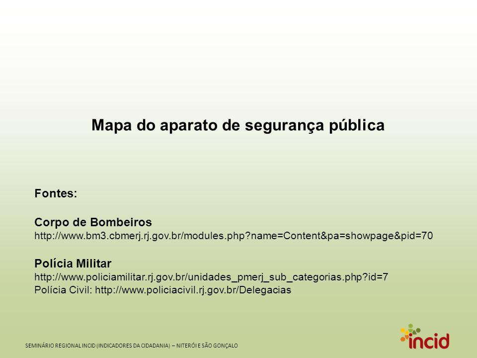 SEMINÁRIO REGIONAL INCID (INDICADORES DA CIDADANIA) – NITERÓI E SÃO GONÇALO Mapa do aparato de segurança pública Fontes: Corpo de Bombeiros http://www