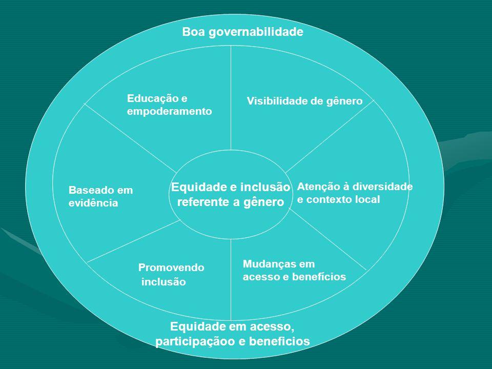 Equidade e inclusão referente a gênero Visibilidade de gênero Atenção à diversidade e contexto local Mudanças em acesso e benefícios Promovendo inclusão Baseado em evidência Educação e empoderamento Boa governabilidade Equidade em acesso, participaçãoo e beneficios