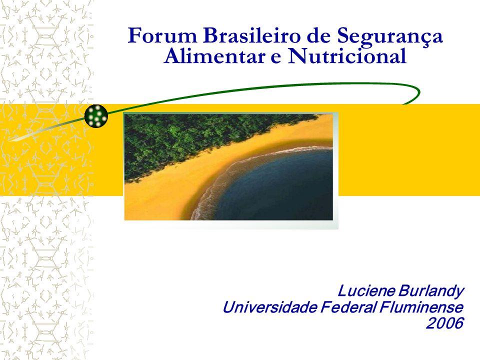 Luciene Burlandy Universidade Federal Fluminense 2006 Forum Brasileiro de Segurança Alimentar e Nutricional
