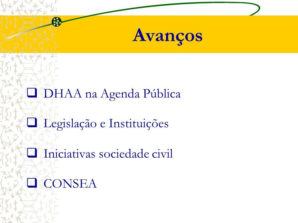 Avanços  DHAA na Agenda Pública  Legislação e Instituições  Iniciativas sociedade civil  CONSEA