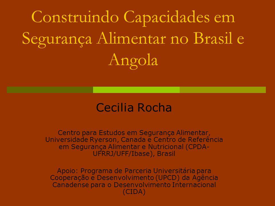 Construindo Capacidades em Segurança Alimentar no Brasil e Angola Cecilia Rocha Centro para Estudos em Segurança Alimentar, Universidade Ryerson, Cana