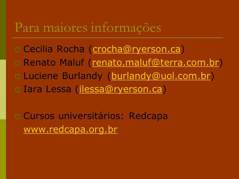 Para maiores informações  Cecilia Rocha (crocha@ryerson.ca)crocha@ryerson.ca  Renato Maluf (renato.maluf@terra.com.br)renato.maluf@terra.com.br  Lu