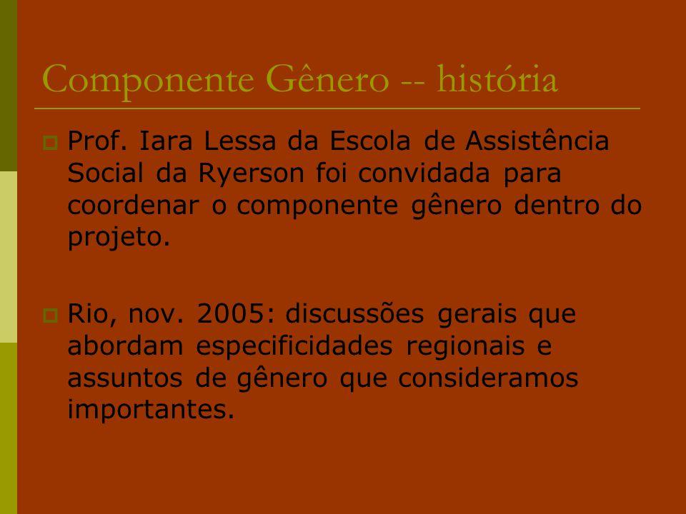 Componente Gênero -- história  Prof. Iara Lessa da Escola de Assistência Social da Ryerson foi convidada para coordenar o componente gênero dentro do