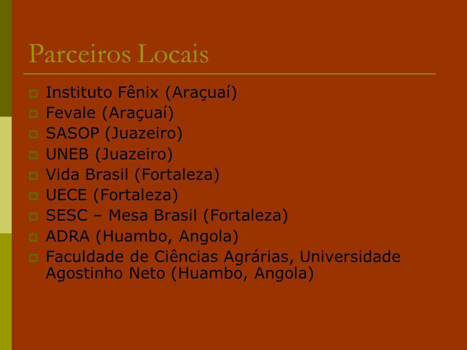 Parceiros Locais  Instituto Fênix (Araçuaí)  Fevale (Araçuaí)  SASOP (Juazeiro)  UNEB (Juazeiro)  Vida Brasil (Fortaleza)  UECE (Fortaleza)  SE