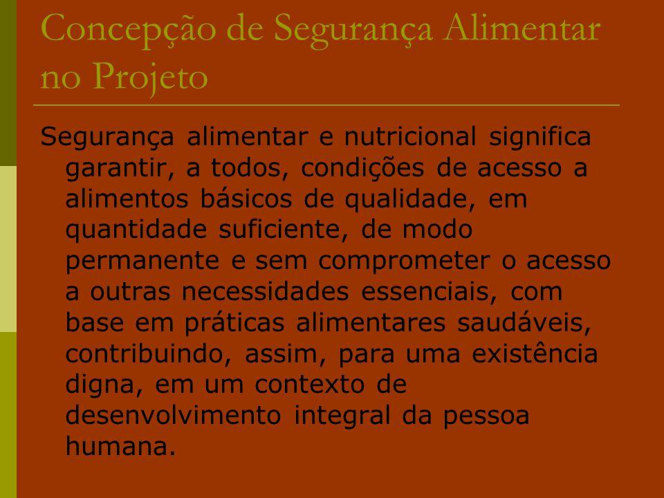 Concepção de Segurança Alimentar no Projeto Segurança alimentar e nutricional significa garantir, a todos, condições de acesso a alimentos básicos de