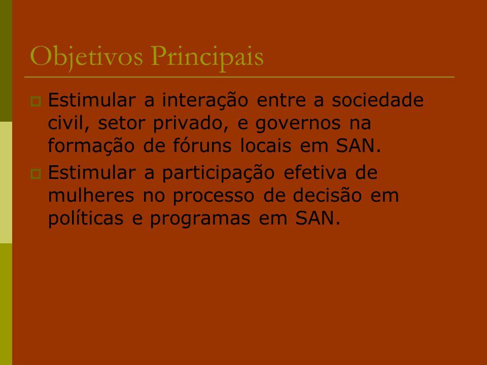 Objetivos Principais  Estimular a interação entre a sociedade civil, setor privado, e governos na formação de fóruns locais em SAN.  Estimular a par