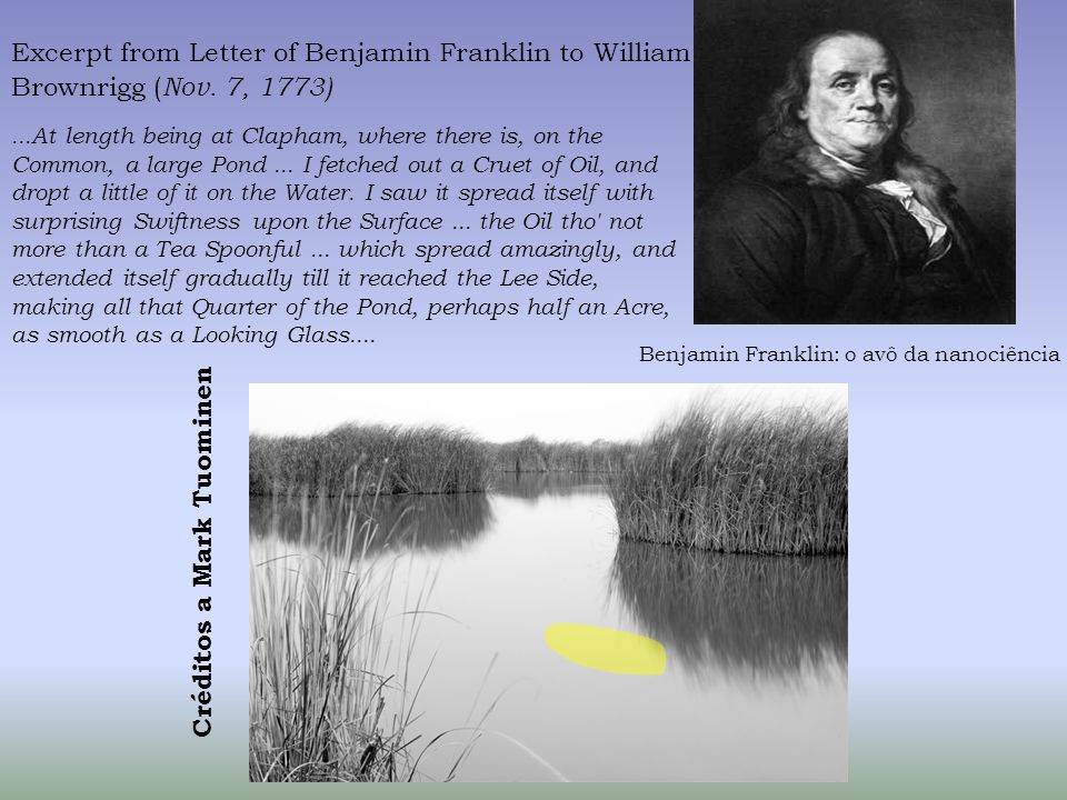 Excerpt from Letter of Benjamin Franklin to William Brownrigg ( Nov.