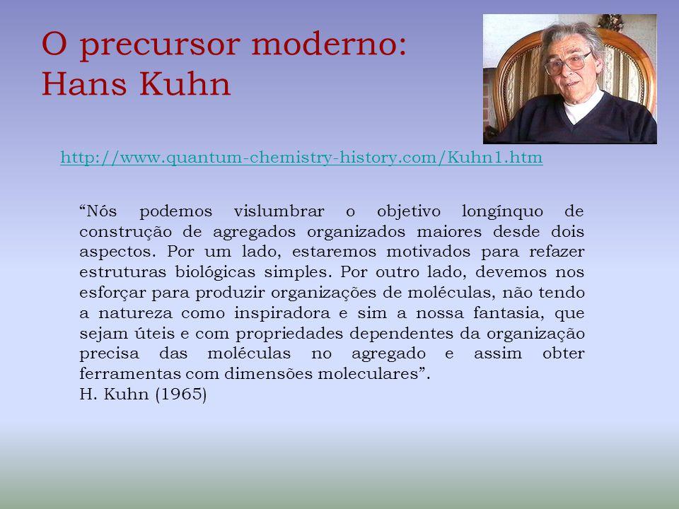 O precursor moderno: Hans Kuhn http://www.quantum-chemistry-history.com/Kuhn1.htm Nós podemos vislumbrar o objetivo longínquo de construção de agregados organizados maiores desde dois aspectos.