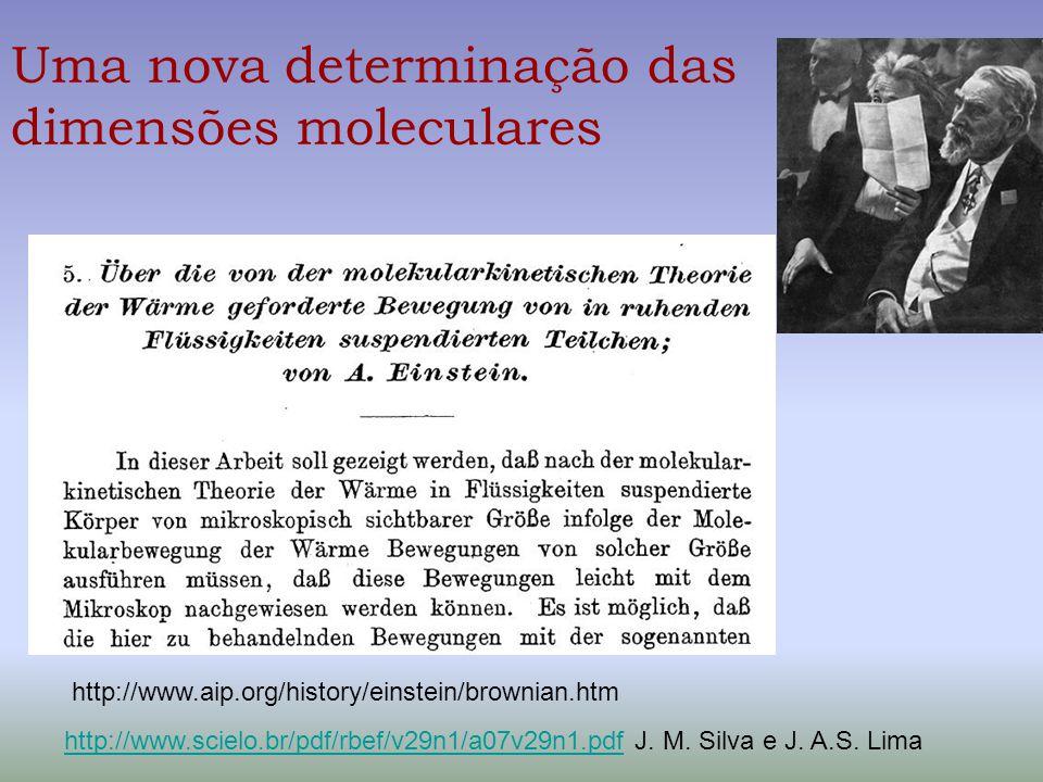 Uma nova determinação das dimensões moleculares http://www.aip.org/history/einstein/brownian.htm http://www.scielo.br/pdf/rbef/v29n1/a07v29n1.pdfhttp: