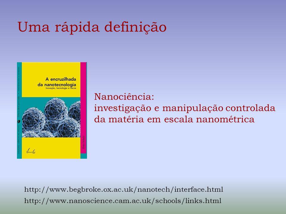 Uma rápida definição Nanociência: investigação e manipulação controlada da matéria em escala nanométrica http://www.begbroke.ox.ac.uk/nanotech/interfa