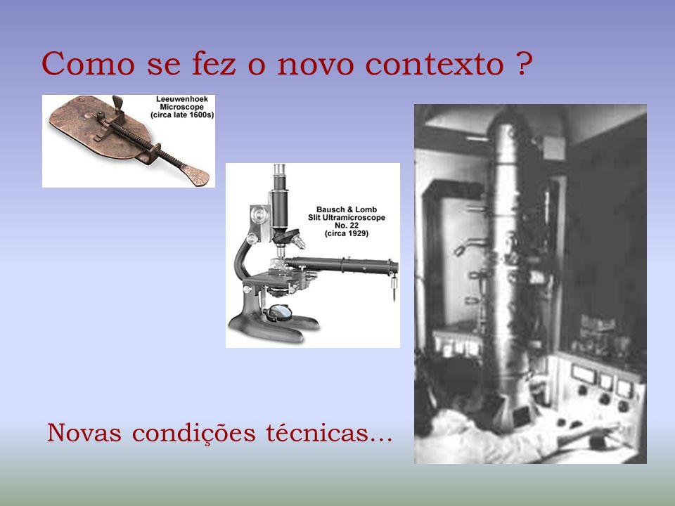 Como se fez o novo contexto ? Novas condições técnicas...