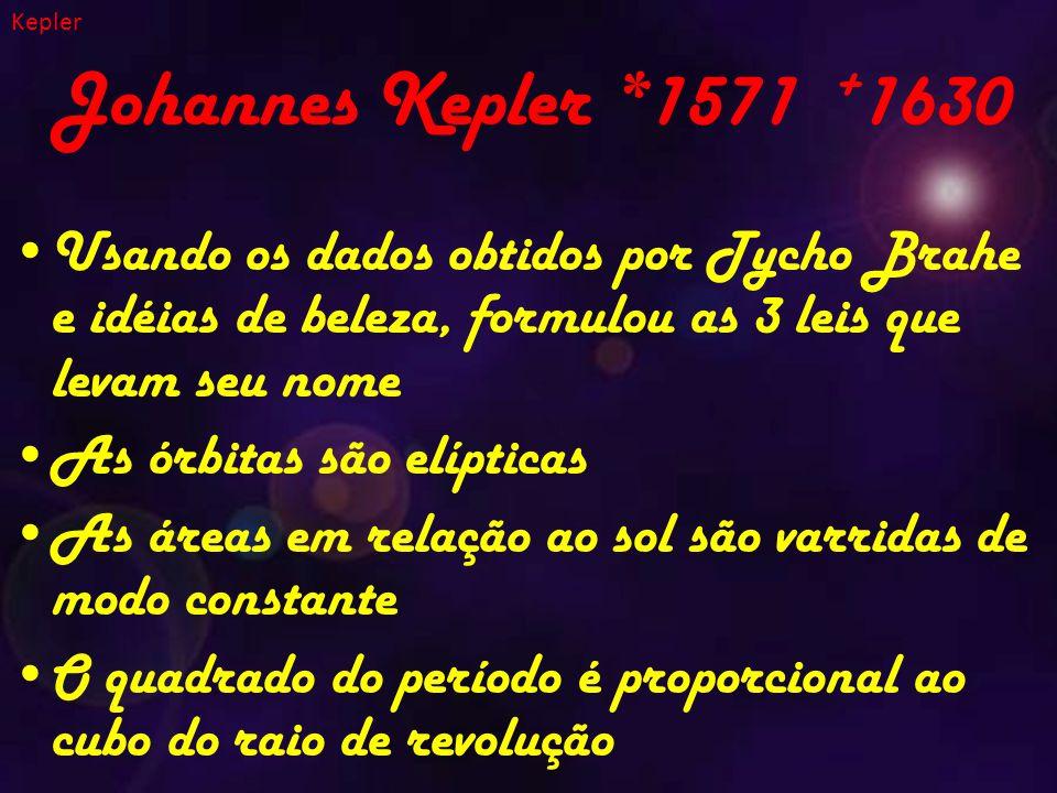 Johannes Kepler *1571 + 1630 Usando os dados obtidos por Tycho Brahe e idéias de beleza, formulou as 3 leis que levam seu nome As órbitas são elípticas As áreas em relação ao sol são varridas de modo constante O quadrado do período é proporcional ao cubo do raio de revolução Kepler