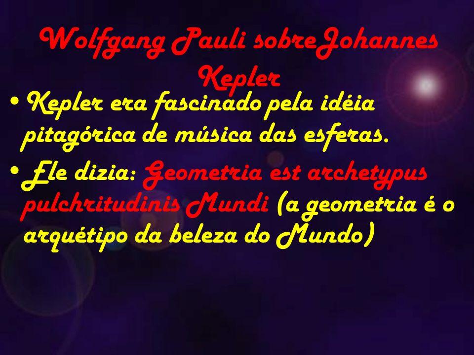 Wolfgang Pauli sobreJohannes Kepler Kepler era fascinado pela idéia pitagórica de música das esferas.