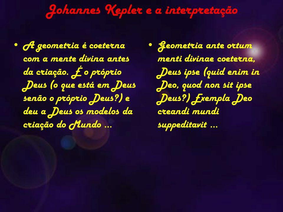 Johannes Kepler e a interpretação A geometria é coeterna com a mente divina antes da criação.