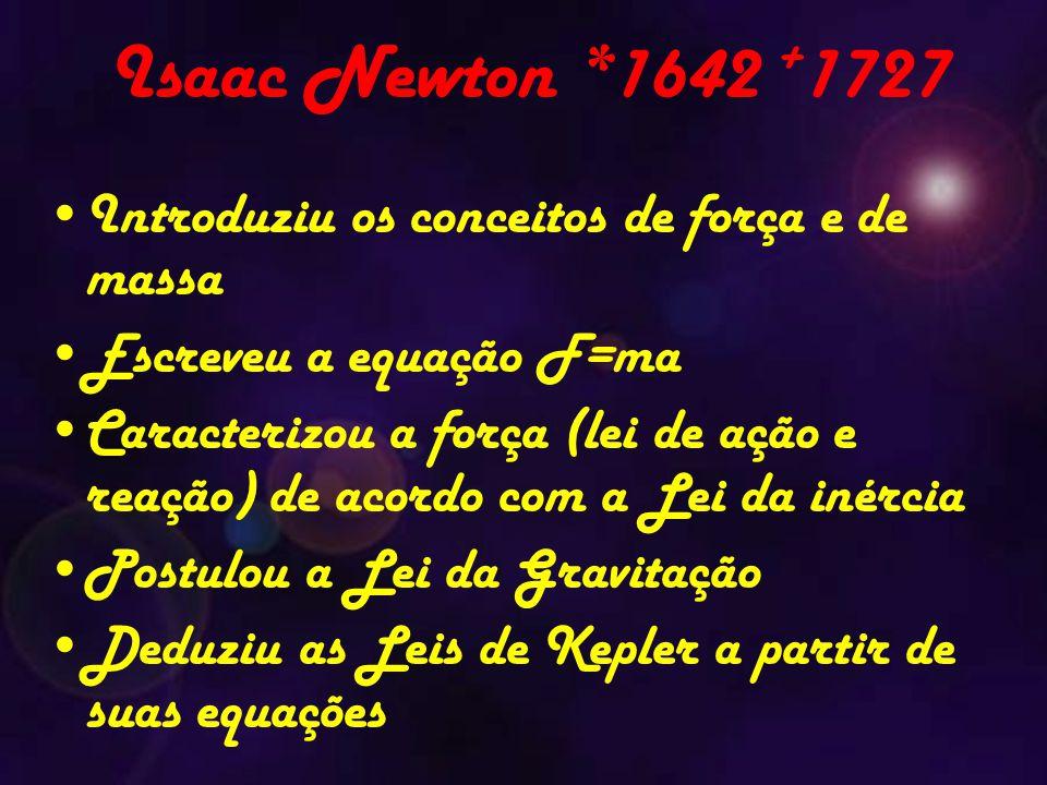 Isaac Newton *1642 + 1727 Introduziu os conceitos de força e de massa Escreveu a equação F=ma Caracterizou a força (lei de ação e reação) de acordo com a Lei da inércia Postulou a Lei da Gravitação Deduziu as Leis de Kepler a partir de suas equações