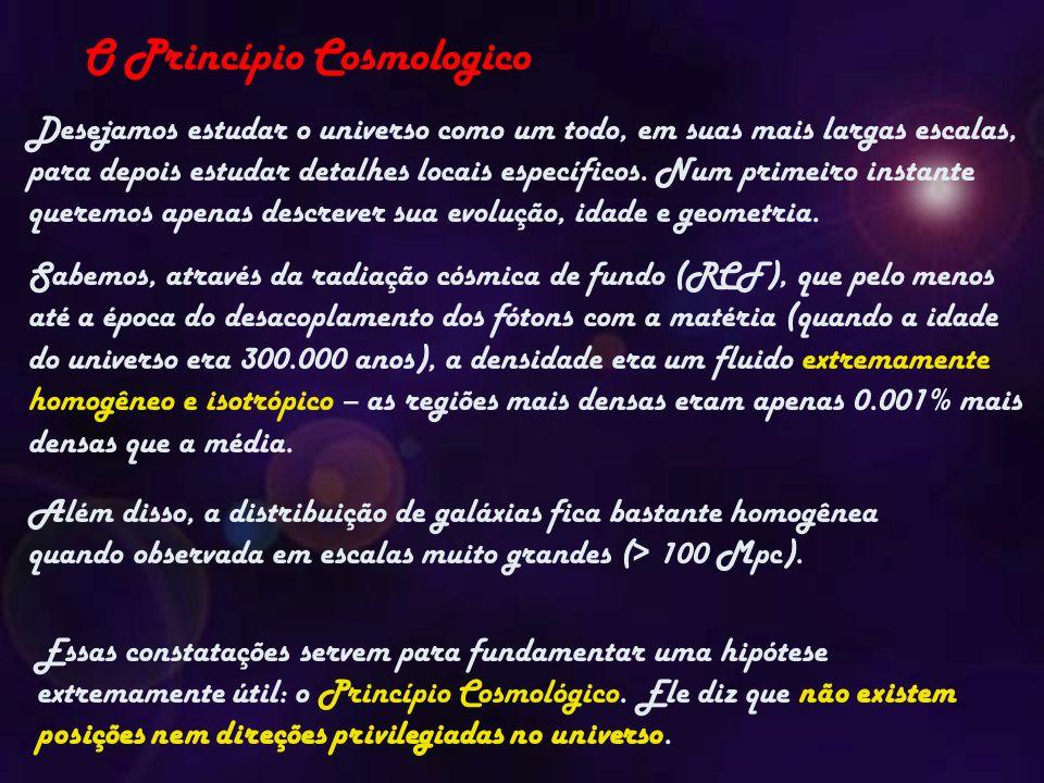 O Princípio Cosmologico Desejamos estudar o universo como um todo, em suas mais largas escalas, para depois estudar detalhes locais específicos.