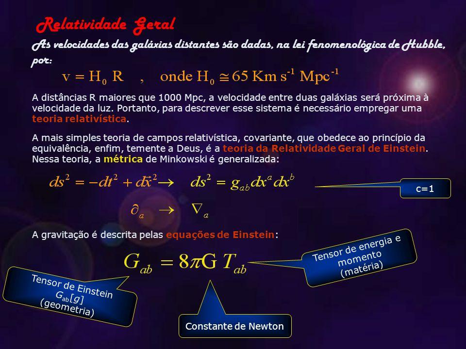 As velocidades das galáxias distantes são dadas, na lei fenomenológica de Hubble, por: Relatividade Geral A distâncias R maiores que 1000 Mpc, a velocidade entre duas galáxias será próxima à velocidade da luz.