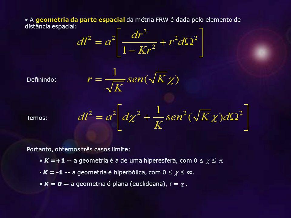 A geometria da parte espacial da métria FRW é dada pelo elemento de distância espacial: Definindo: Temos: Portanto, obtemos três casos limite: K =+1 -- a geometria é a de uma hiperesfera, com 0 ≤ ≤ .