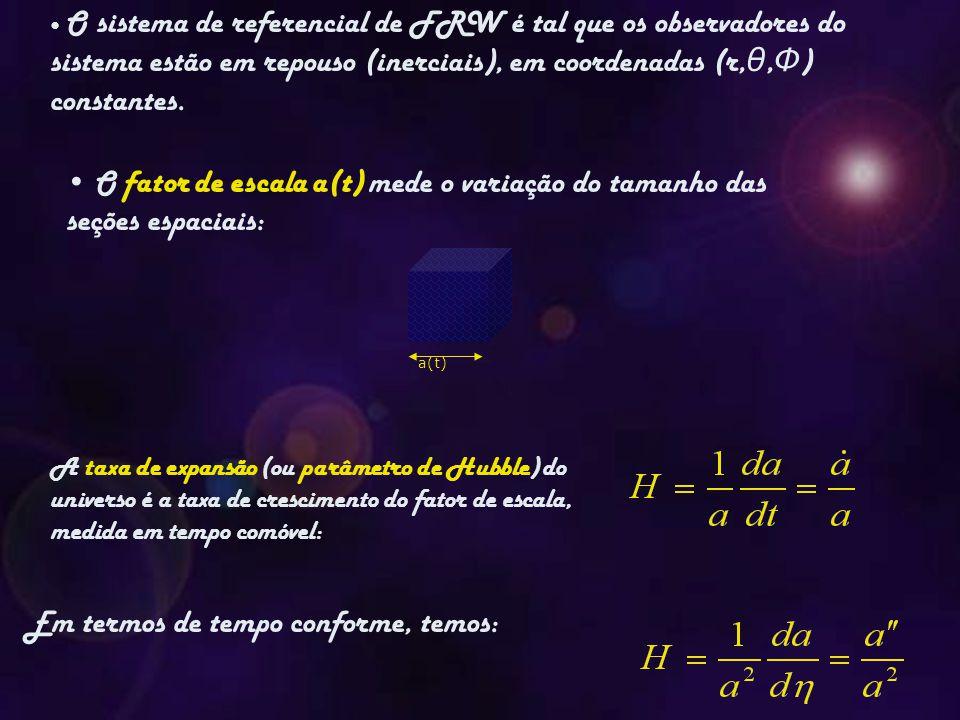 a(t) O fator de escala a(t) mede o variação do tamanho das seções espaciais: A taxa de expansão (ou parâmetro de Hubble) do universo é a taxa de crescimento do fator de escala, medida em tempo comóvel: Em termos de tempo conforme, temos: O sistema de referencial de FRW é tal que os observadores do sistema estão em repouso (inerciais), em coordenadas (r, θ, Φ ) constantes.