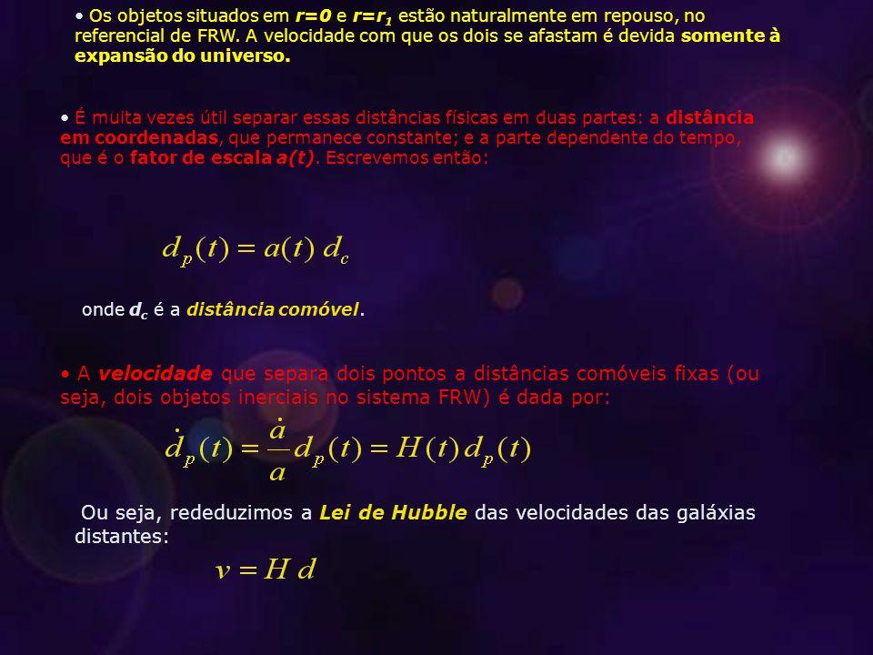 Os objetos situados em r=0 e r=r 1 estão naturalmente em repouso, no referencial de FRW.