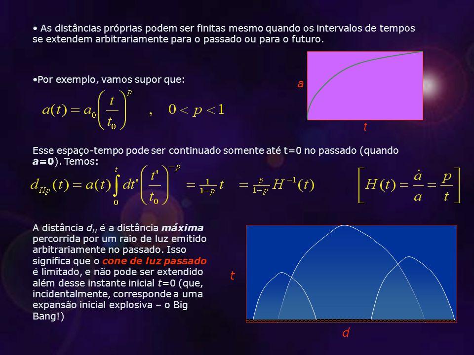 t d As distâncias próprias podem ser finitas mesmo quando os intervalos de tempos se extendem arbitrariamente para o passado ou para o futuro.