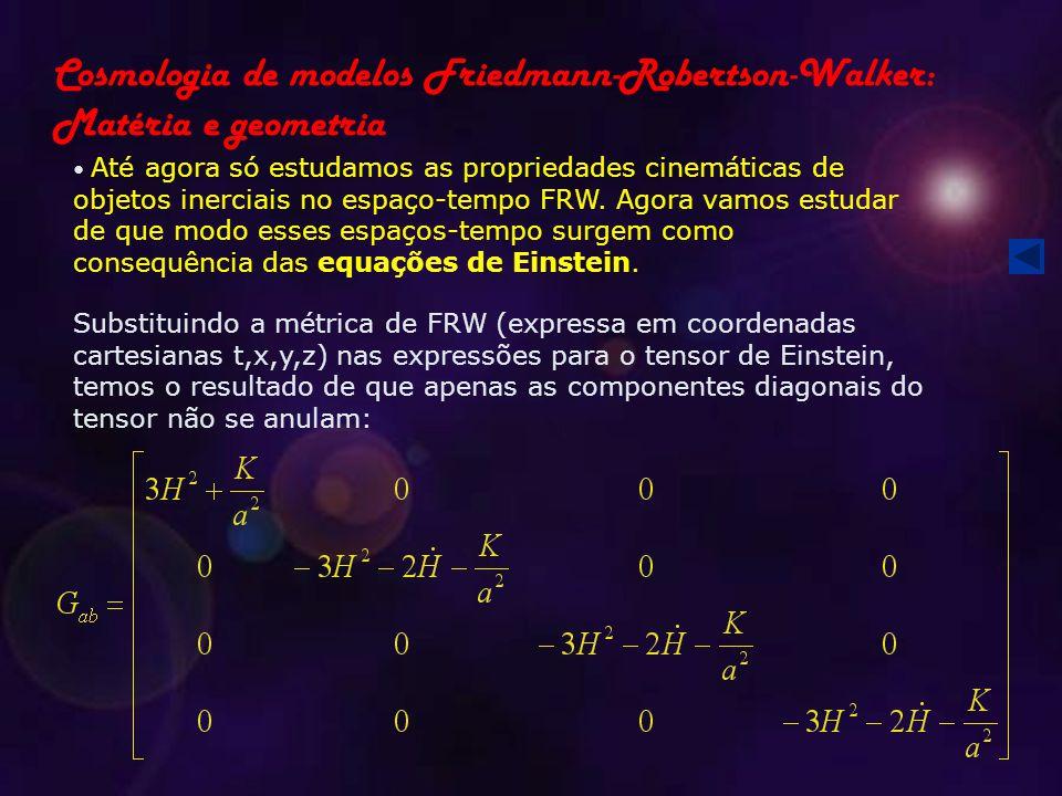 Cosmologia de modelos Friedmann-Robertson-Walker: Matéria e geometria Até agora só estudamos as propriedades cinemáticas de objetos inerciais no espaço-tempo FRW.