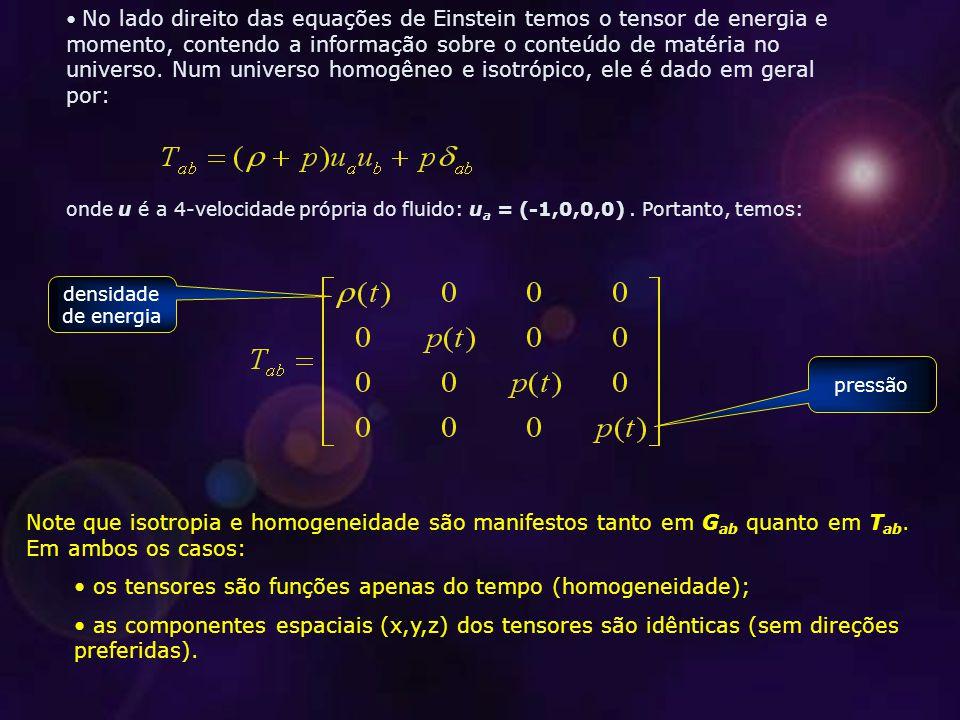Note que isotropia e homogeneidade são manifestos tanto em G ab quanto em T ab.