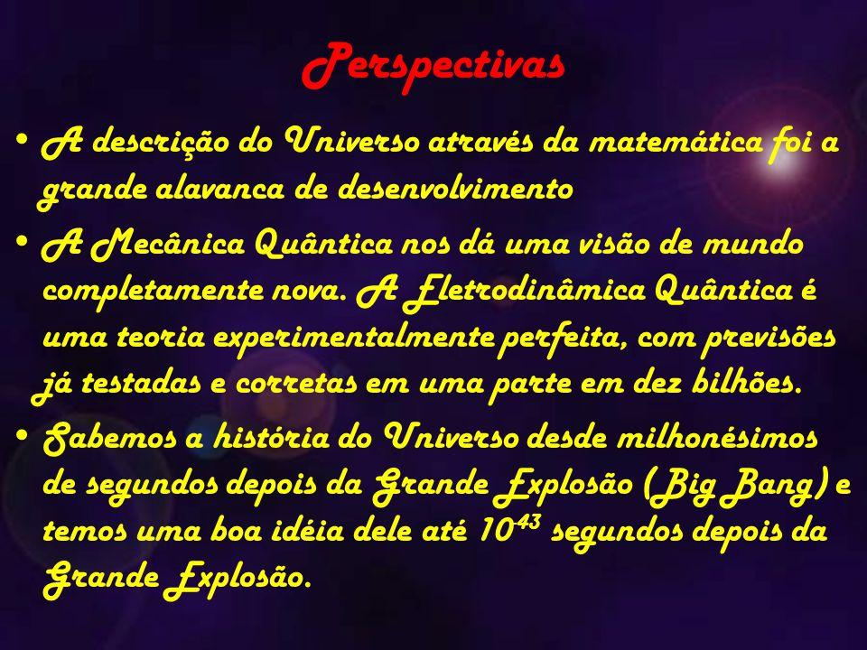 Perspectivas A descrição do Universo através da matemática foi a grande alavanca de desenvolvimento A Mecânica Quântica nos dá uma visão de mundo completamente nova.
