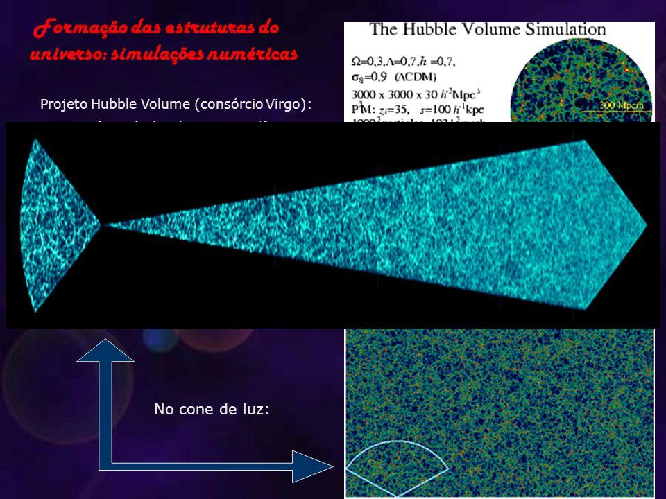 Projeto Hubble Volume (consórcio Virgo): 10 9 partículas de massa 10 12 massas solares 512 processadores paralelos 70 horas 1 Tera byte de dados No co