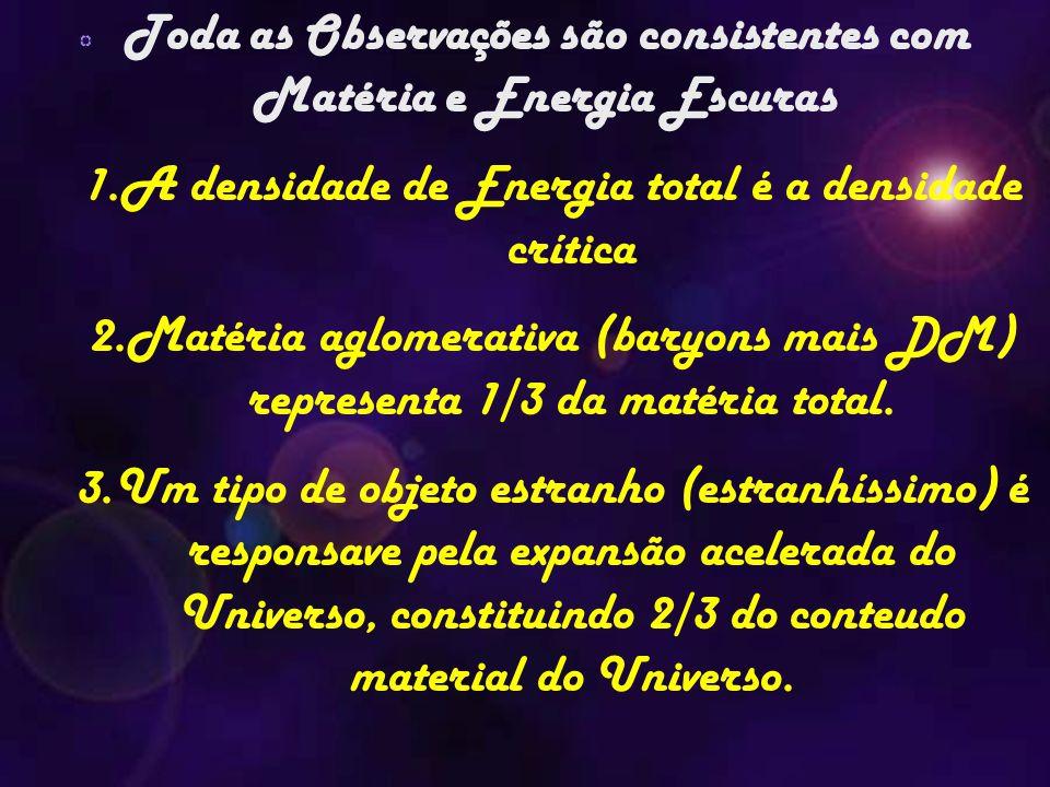 Toda as Observações são consistentes com Matéria e Energia Escuras 1.A densidade de Energia total é a densidade crítica 2.Matéria aglomerativa (baryon
