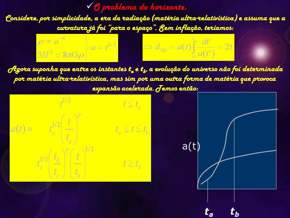 """O problema do horizonte. Considere, por simplicidade, a era da radiação (matéria ultra-relativística) e assuma que a curvatura já foi """"para o espaço""""."""