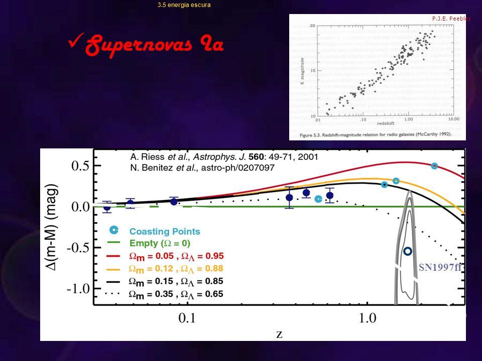 3.5 energia escura Supernovas Ia P.J.E. Peebles SN1997ff  m =1,   =0