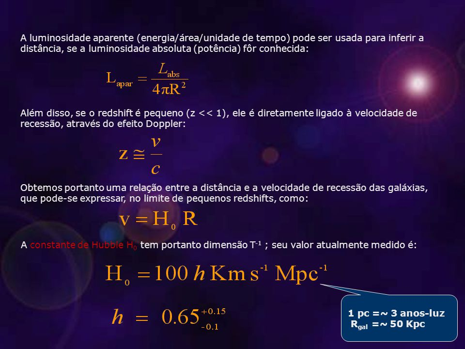 Como obter aceleração: modelos cosmológicos Podemos combinar as equações de Friedmann e obter: Portanto, é claro o que temos de fazer: formular algum tipo de matéria que tenha: A solução mais lembrada para a energia escura é a constante cosmológica, ou energia de vácuo, .