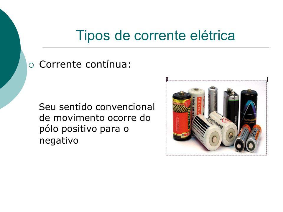 Tipos de corrente elétrica  Corrente contínua: Seu sentido convencional de movimento ocorre do pólo positivo para o negativo