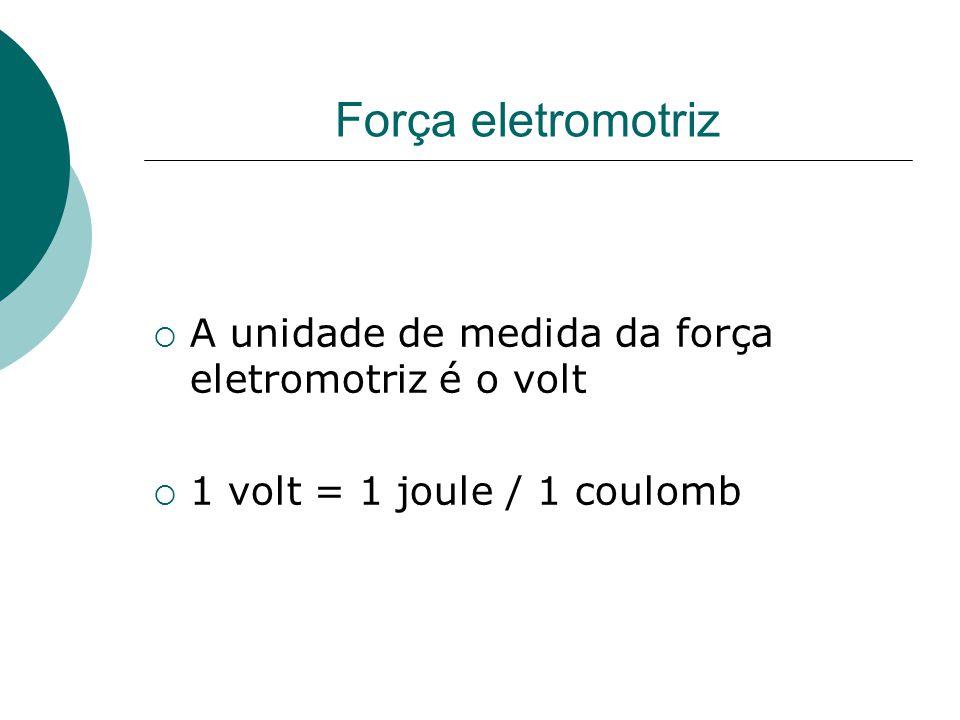 Força eletromotriz  A unidade de medida da força eletromotriz é o volt  1 volt = 1 joule / 1 coulomb
