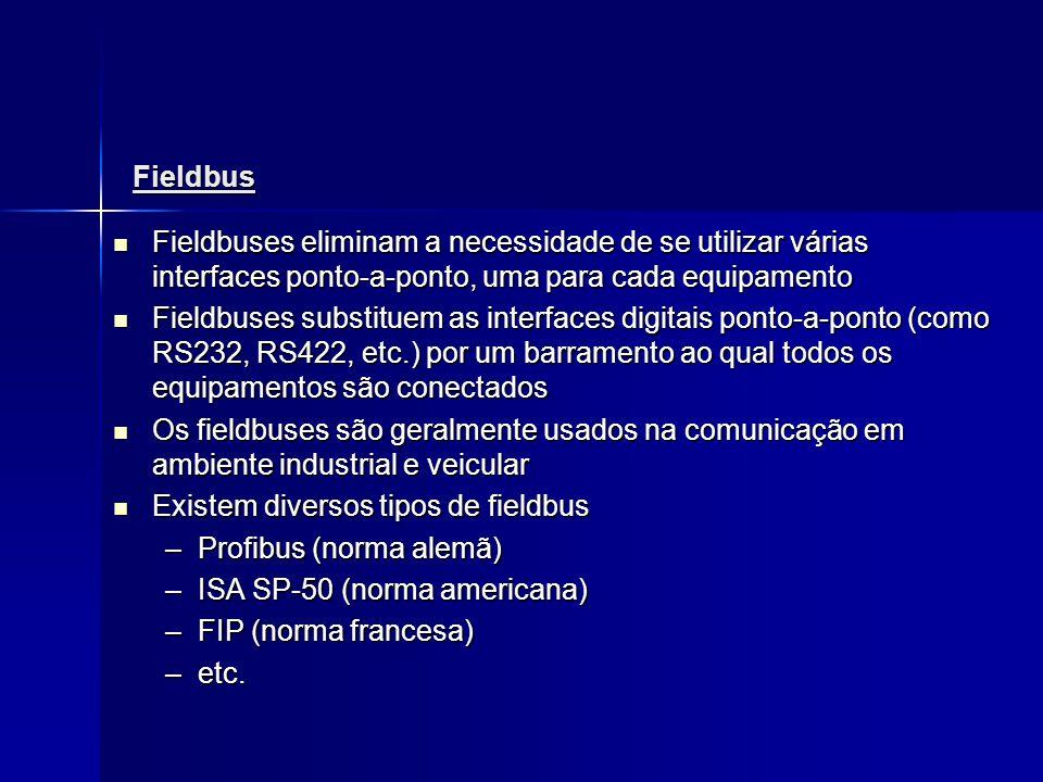 Fieldbus Fieldbuses eliminam a necessidade de se utilizar várias interfaces ponto-a-ponto, uma para cada equipamento Fieldbuses eliminam a necessidade
