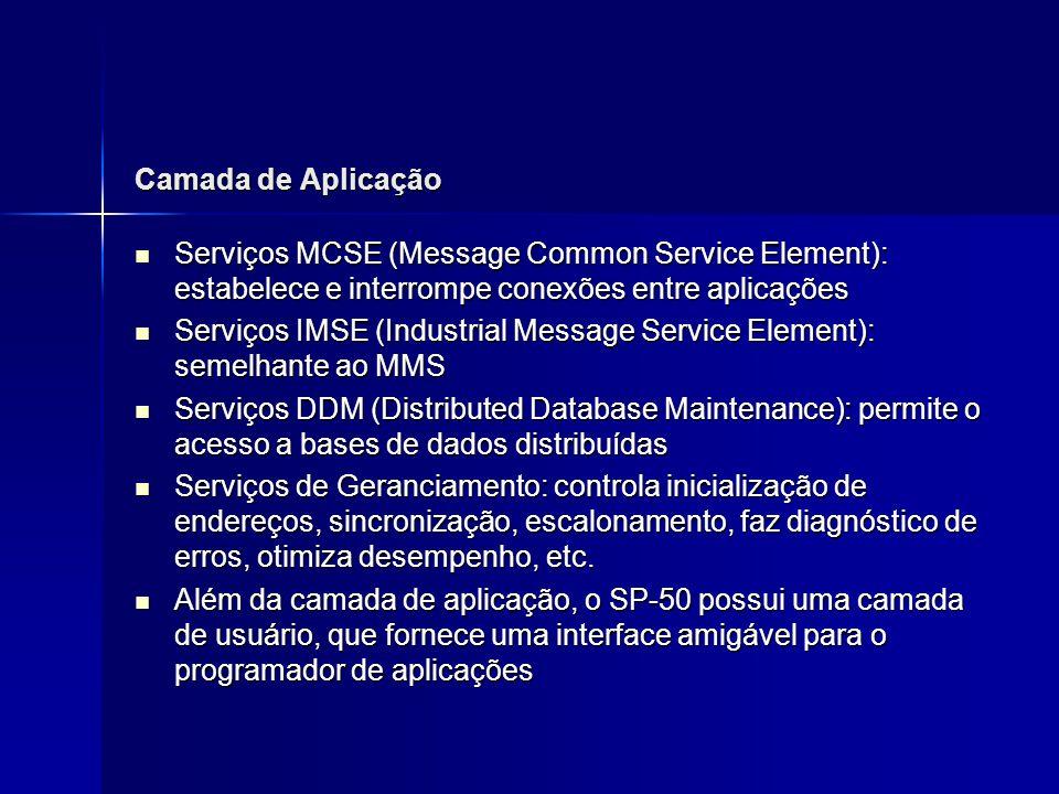 Camada de Aplicação Serviços MCSE (Message Common Service Element): estabelece e interrompe conexões entre aplicações Serviços MCSE (Message Common Se