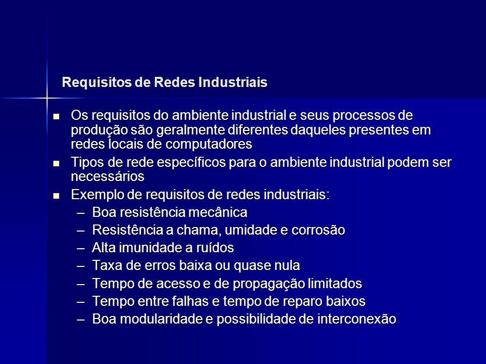Requisitos de Redes Industriais Os requisitos do ambiente industrial e seus processos de produção são geralmente diferentes daqueles presentes em rede