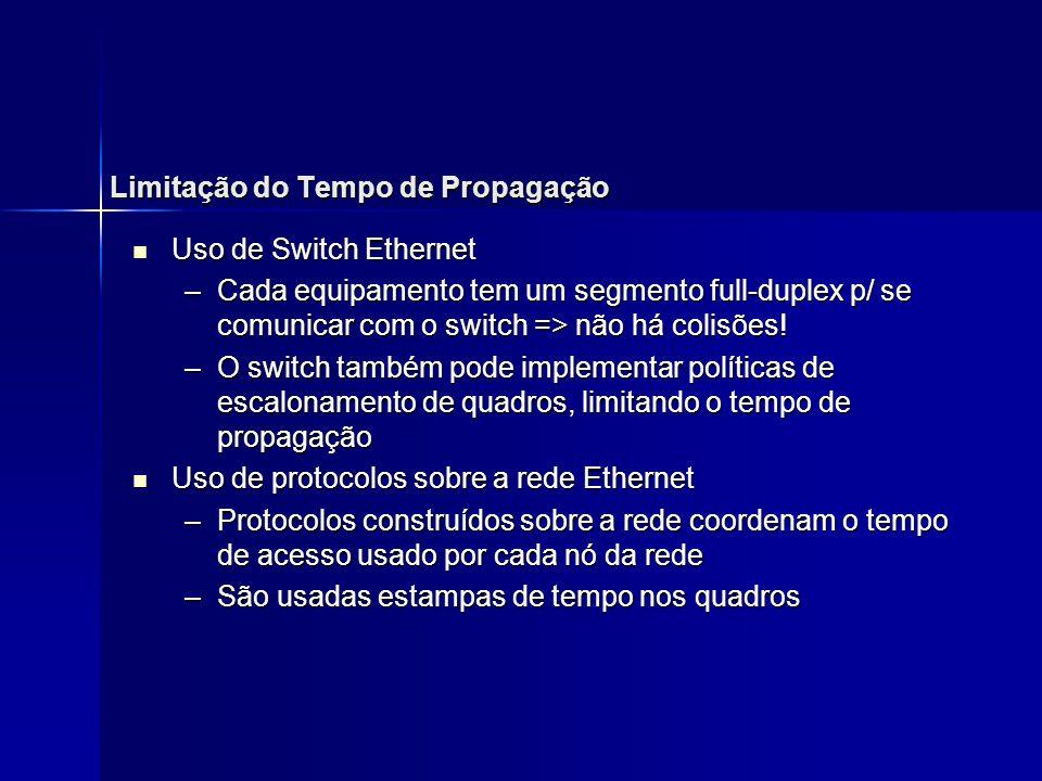 Limitação do Tempo de Propagação Uso de Switch Ethernet Uso de Switch Ethernet –Cada equipamento tem um segmento full-duplex p/ se comunicar com o swi