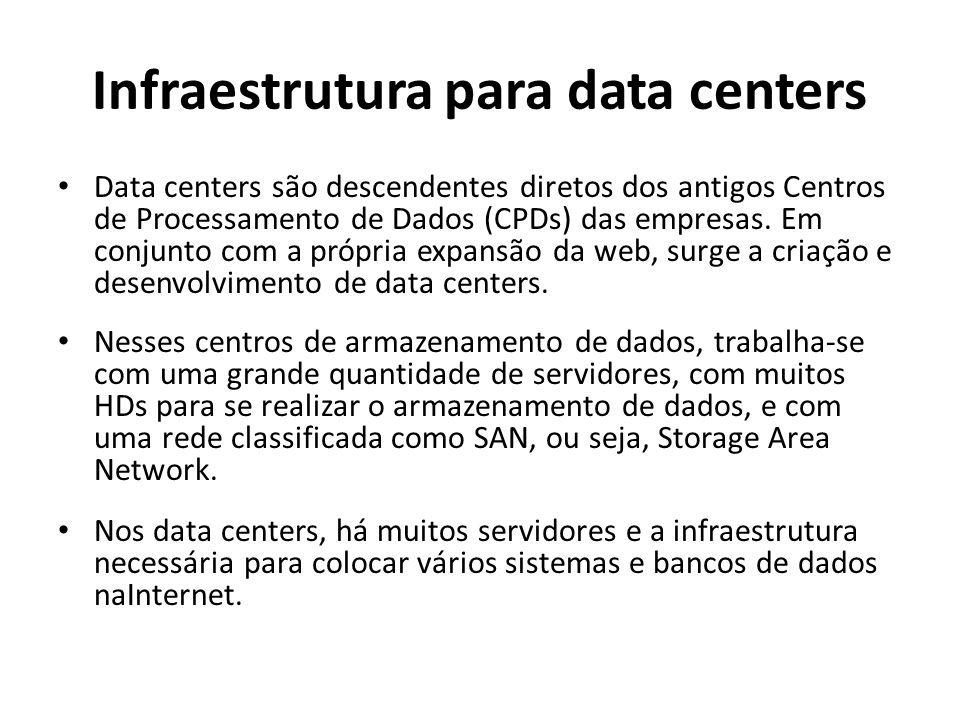 Infraestrutura para data centers Data centers são descendentes diretos dos antigos Centros de Processamento de Dados (CPDs) das empresas.