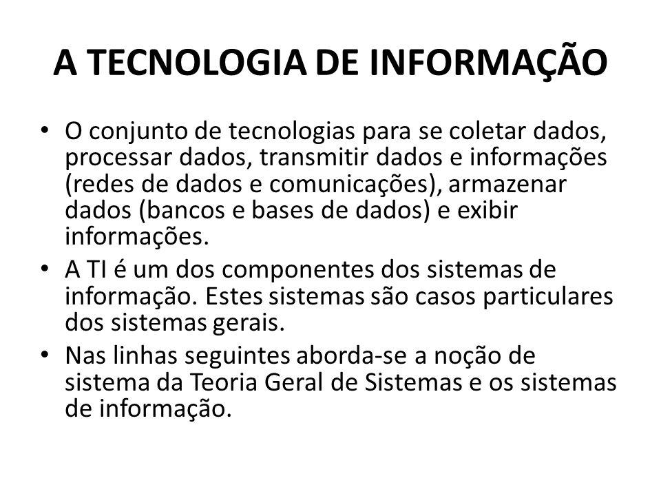 A TECNOLOGIA DE INFORMAÇÃO O conjunto de tecnologias para se coletar dados, processar dados, transmitir dados e informações (redes de dados e comunicações), armazenar dados (bancos e bases de dados) e exibir informações.