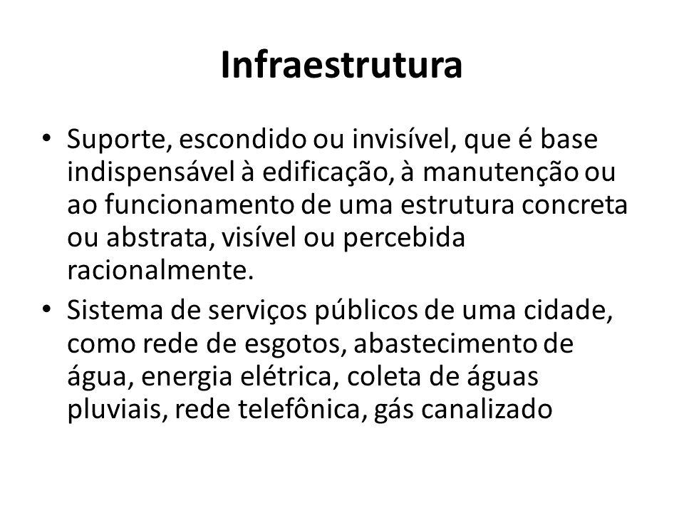 Infraestrutura Suporte, escondido ou invisível, que é base indispensável à edificação, à manutenção ou ao funcionamento de uma estrutura concreta ou abstrata, visível ou percebida racionalmente.