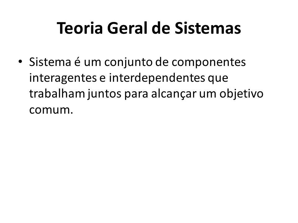 Teoria Geral de Sistemas Sistema é um conjunto de componentes interagentes e interdependentes que trabalham juntos para alcançar um objetivo comum.