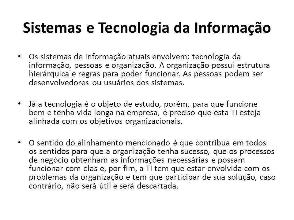 Sistemas e Tecnologia da Informação Os sistemas de informação atuais envolvem: tecnologia da informação, pessoas e organização.